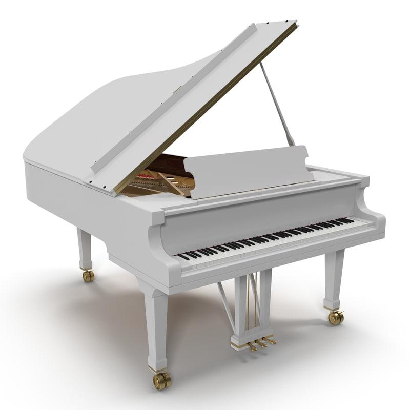 3d 3ds grand piano white