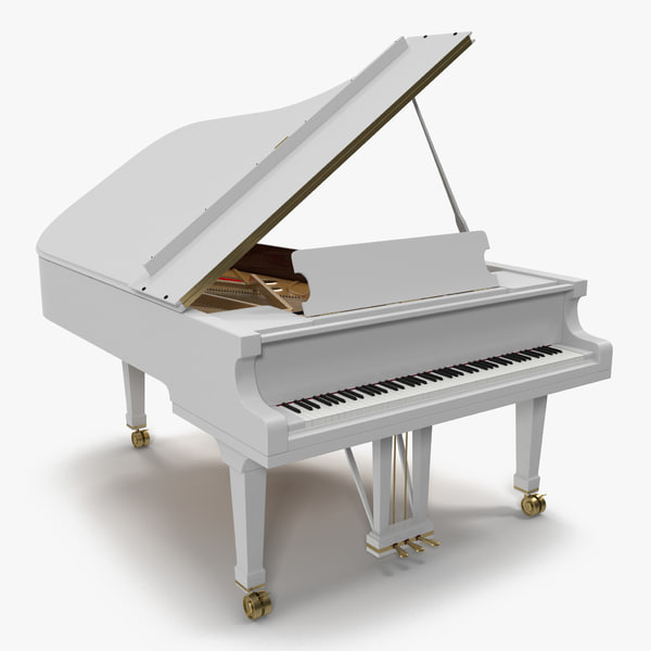 3d 3ds grand piano white