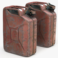 High/Low Poly Old Red Rusty Gasoline Canister
