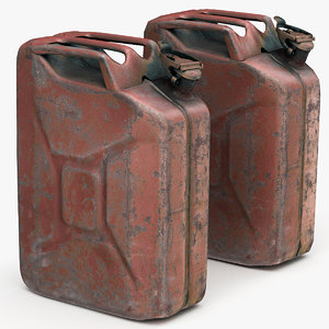 3d model old red rusty gasoline