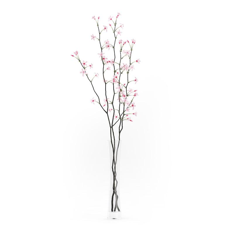 tree twigs flowers glass vase 3d model
