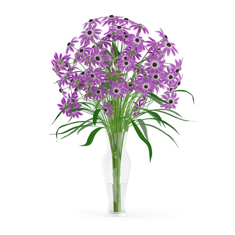 3d model purple flowers glass vase