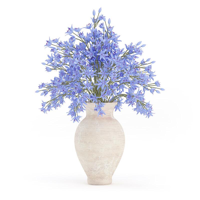 blue flowers ceramic vase 3d max