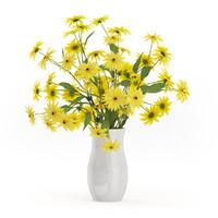 yellow coneflowers ceramic vase 3d model