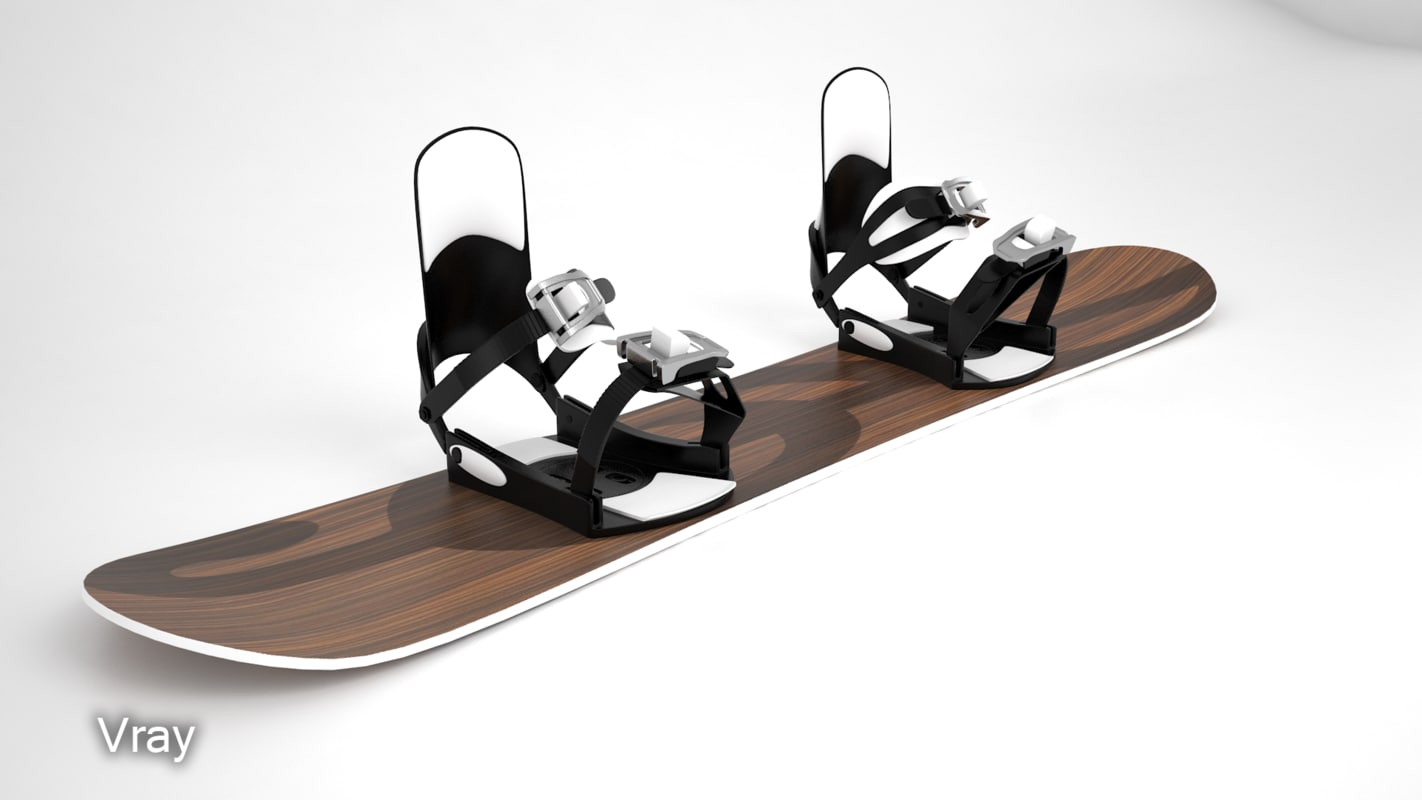 3d model snowboard bindings modeled
