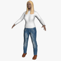 average caucasian female rigged 3d model