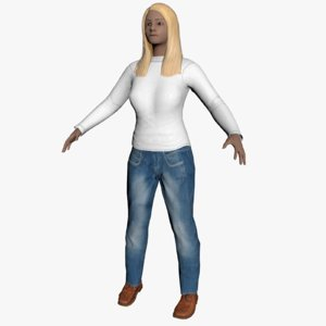 average caucasian female rigged 3d model