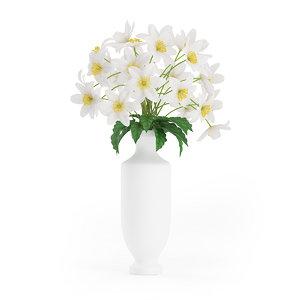 3d white flowers tall vase model