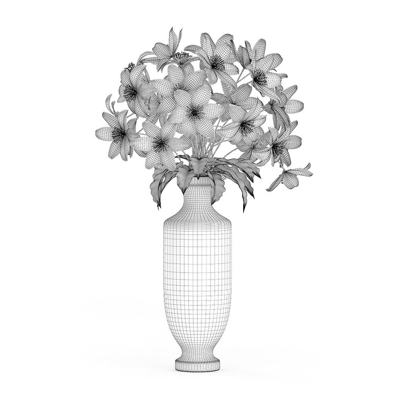 sc 1 st  TurboSquid & 3d white flowers tall vase model