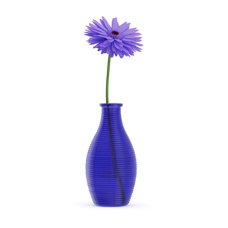 max small purple flower blue glass