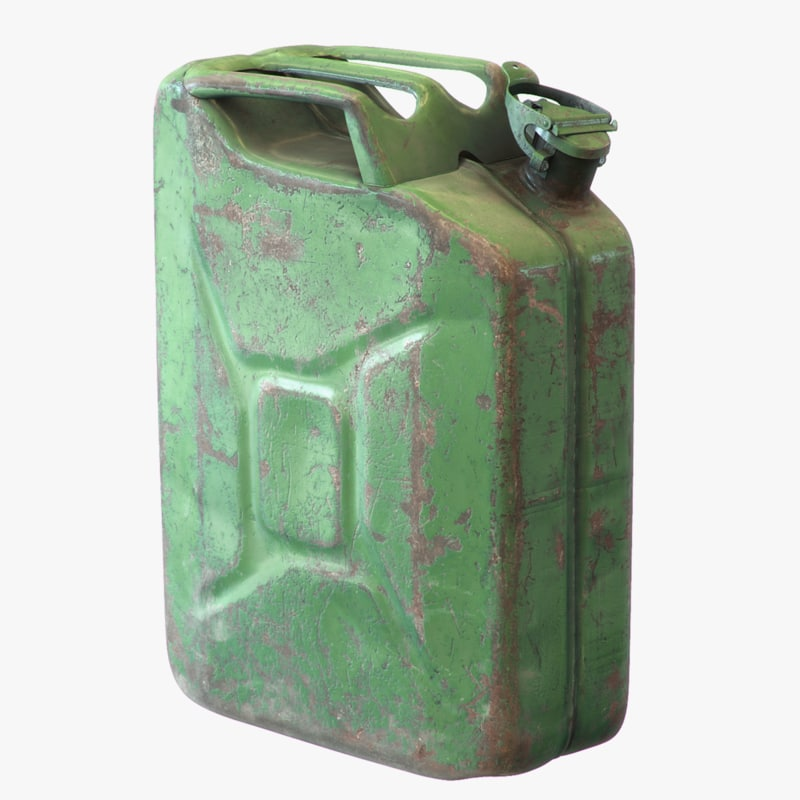 3d model old green rusty gasoline