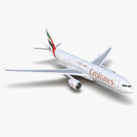 Airbus A330-P2F Emirates Rigged 3D Model