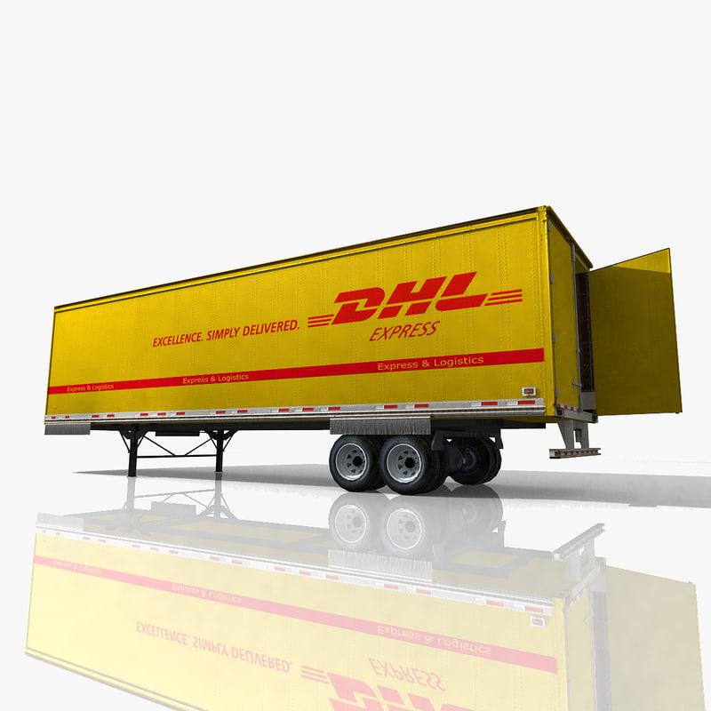 truck dhl trailer 3d model. Black Bedroom Furniture Sets. Home Design Ideas