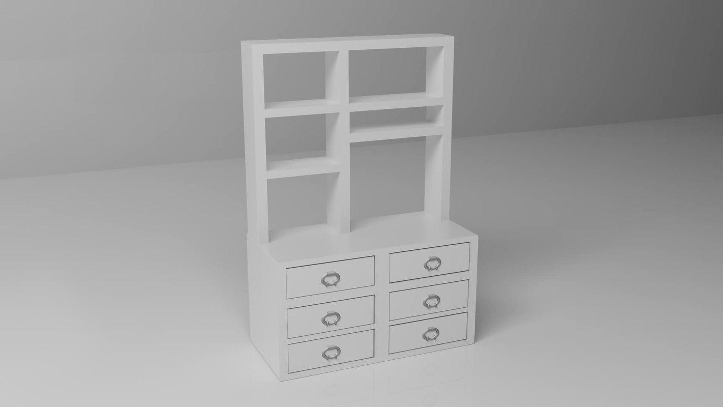 white bookcase book 3d max