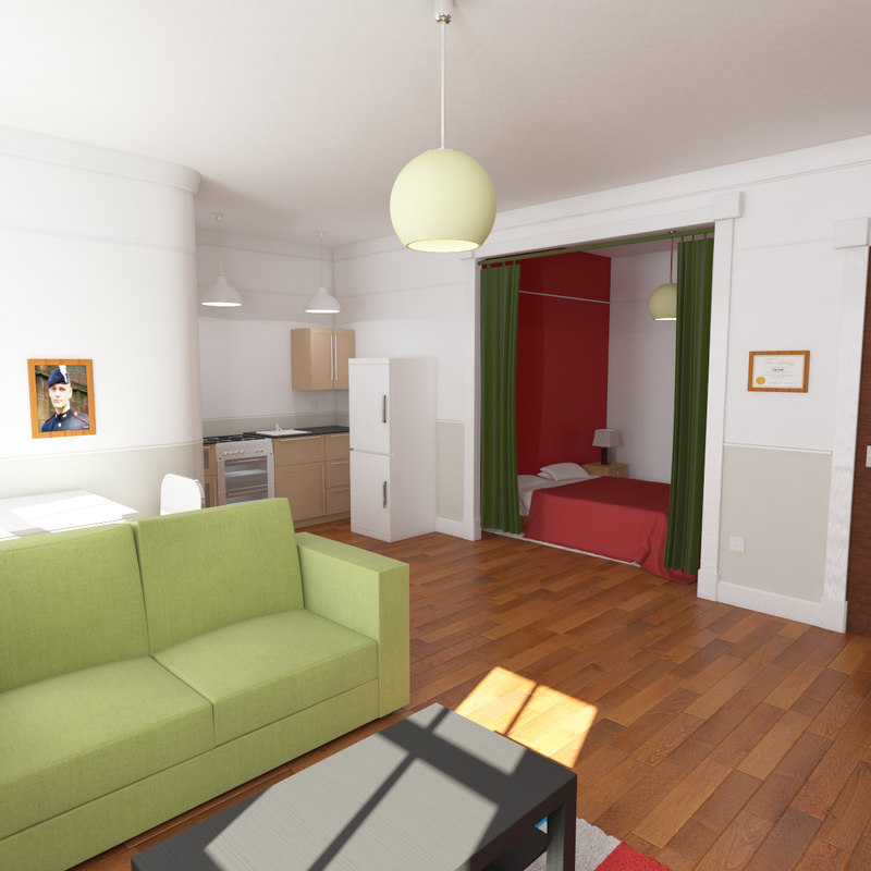 Studio apartment 3d max for Living in a model apartment
