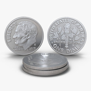 dime united states coin 3d model