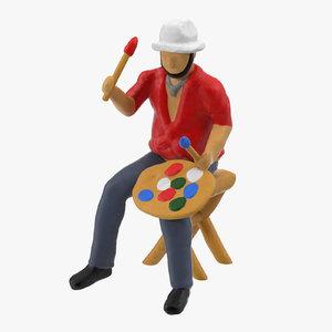 miniture artist 01 3d model