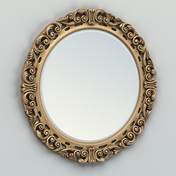 Carved Mirror Frame 3d Max, Carved Wood 35 Round Mirror