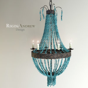 3d chandelier turquoise beads six-light model