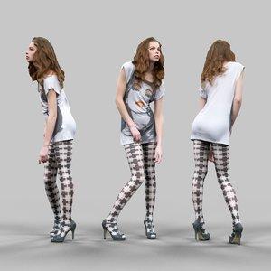 3d girl cross panties shirt model