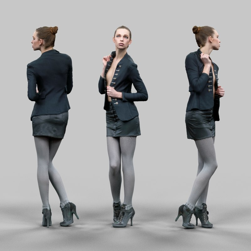 girl leather skirt opening 3d model