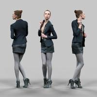 girl leather skirt opening 3d model