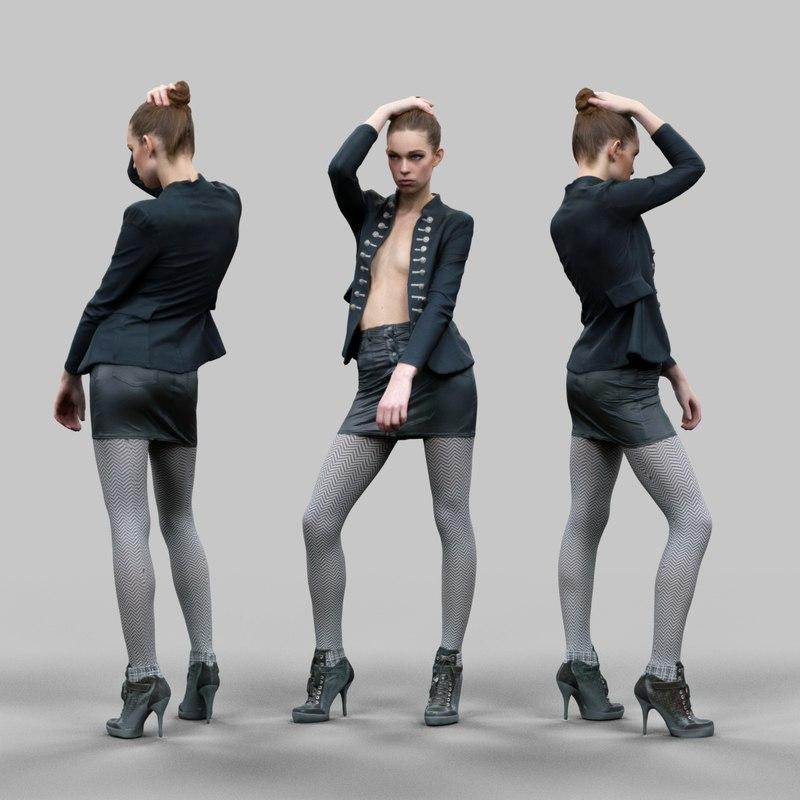 girl leather skirt fbx