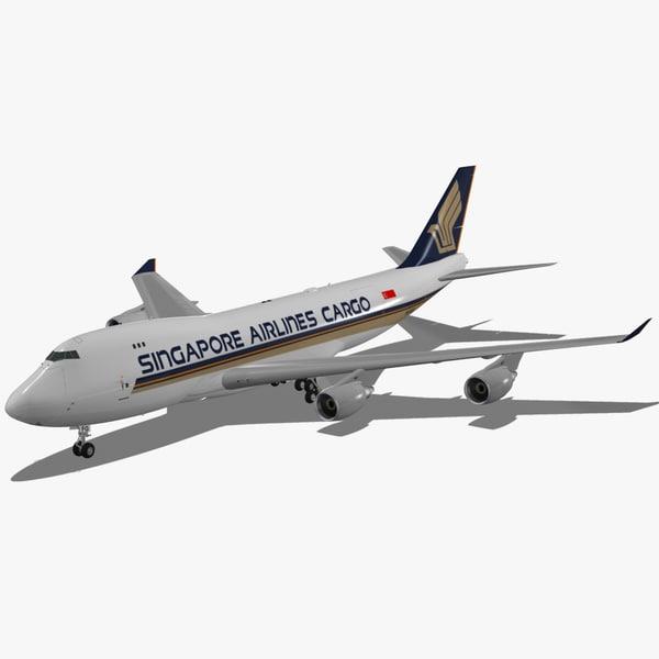 boeing 747-400 f singapore 3d max