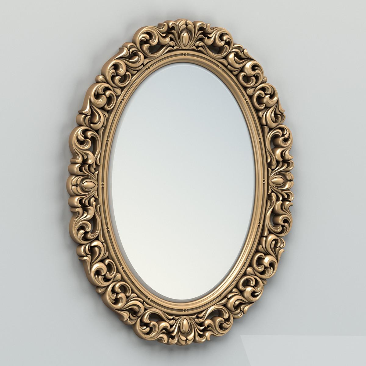 carved oval mirror frame 3d model