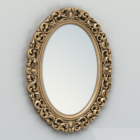 carved oval mirror frame 3d model