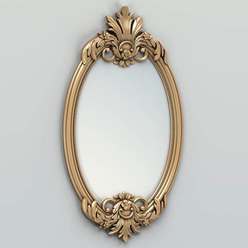 carved oval mirror frame obj