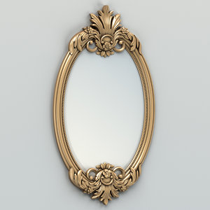 carved oval mirror frame obj