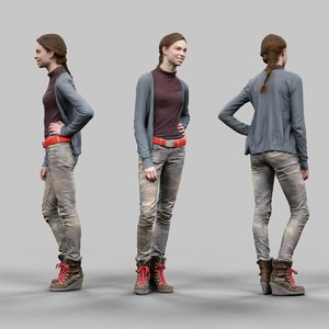 3d smiling girl casual clothing