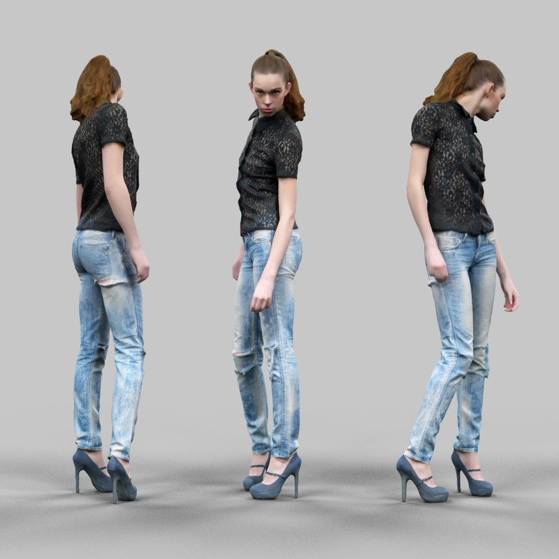 3d model girl jeans black posed
