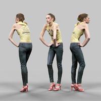 girl leather pants yellow 3d obj