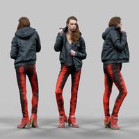 3d girl red black pants