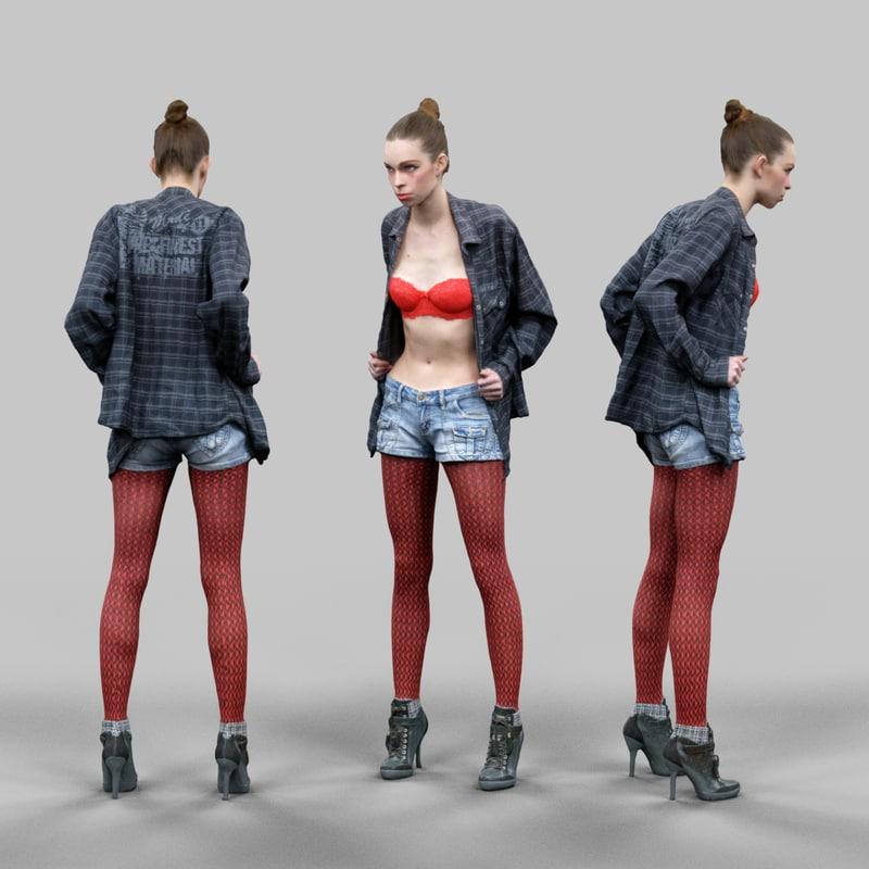 3d girl red panty holding model