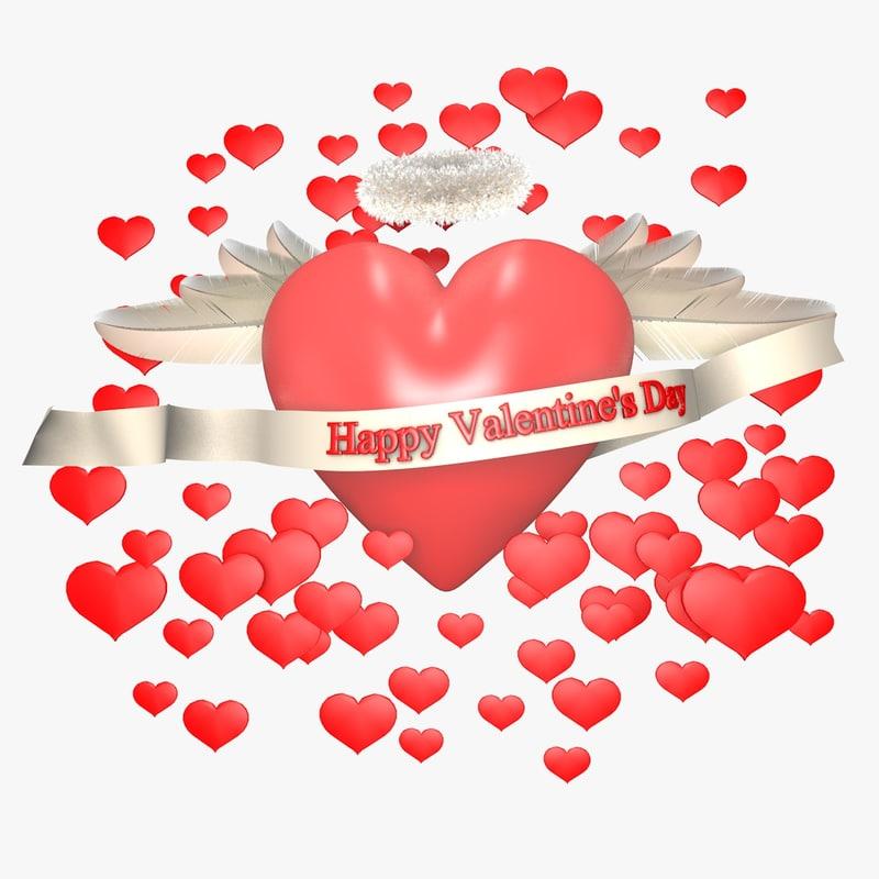 3d model heart valentine day