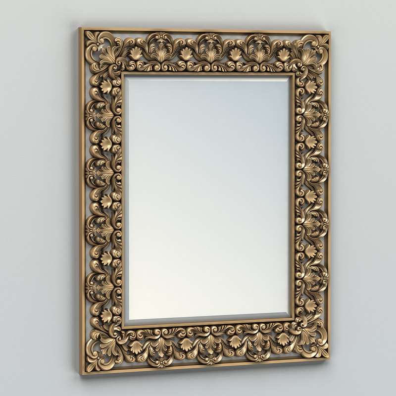 3d carved rectangle mirror frame