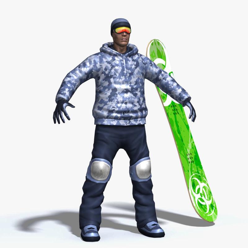 3d model snowboarder