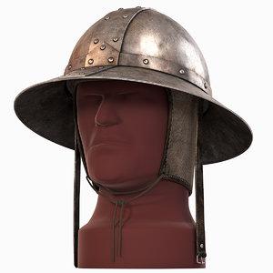 3d model kettle hat medieval helmets