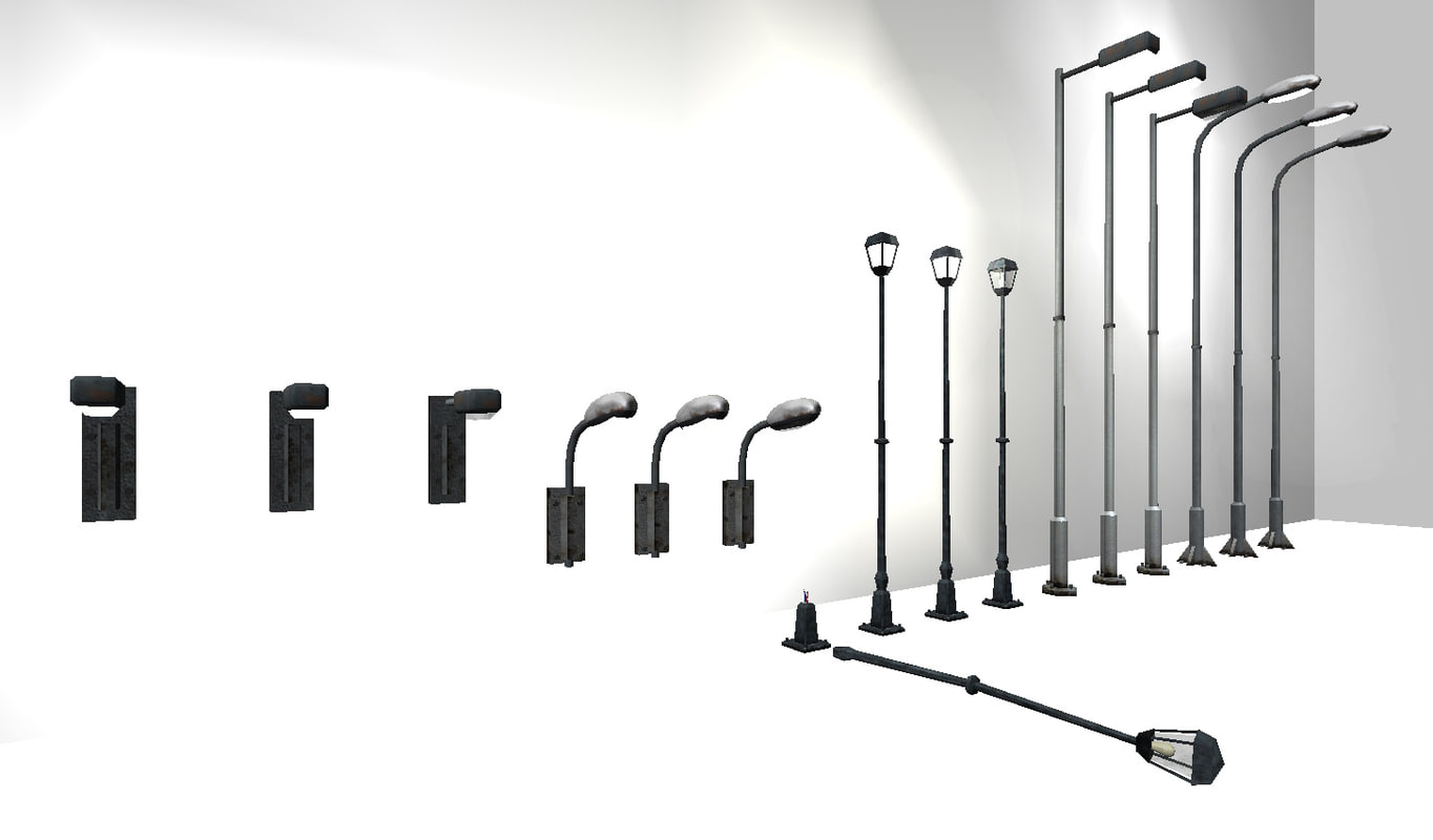 3d street light set model