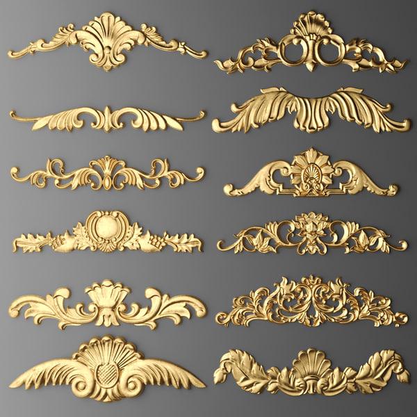 3d cartouches set model