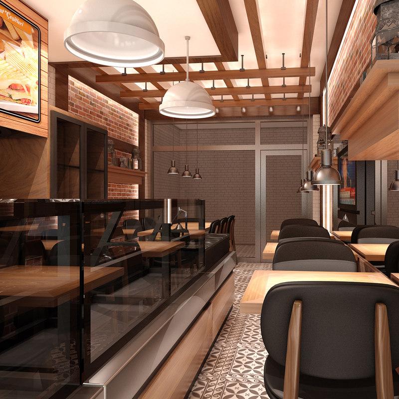 Restaurant interior d model