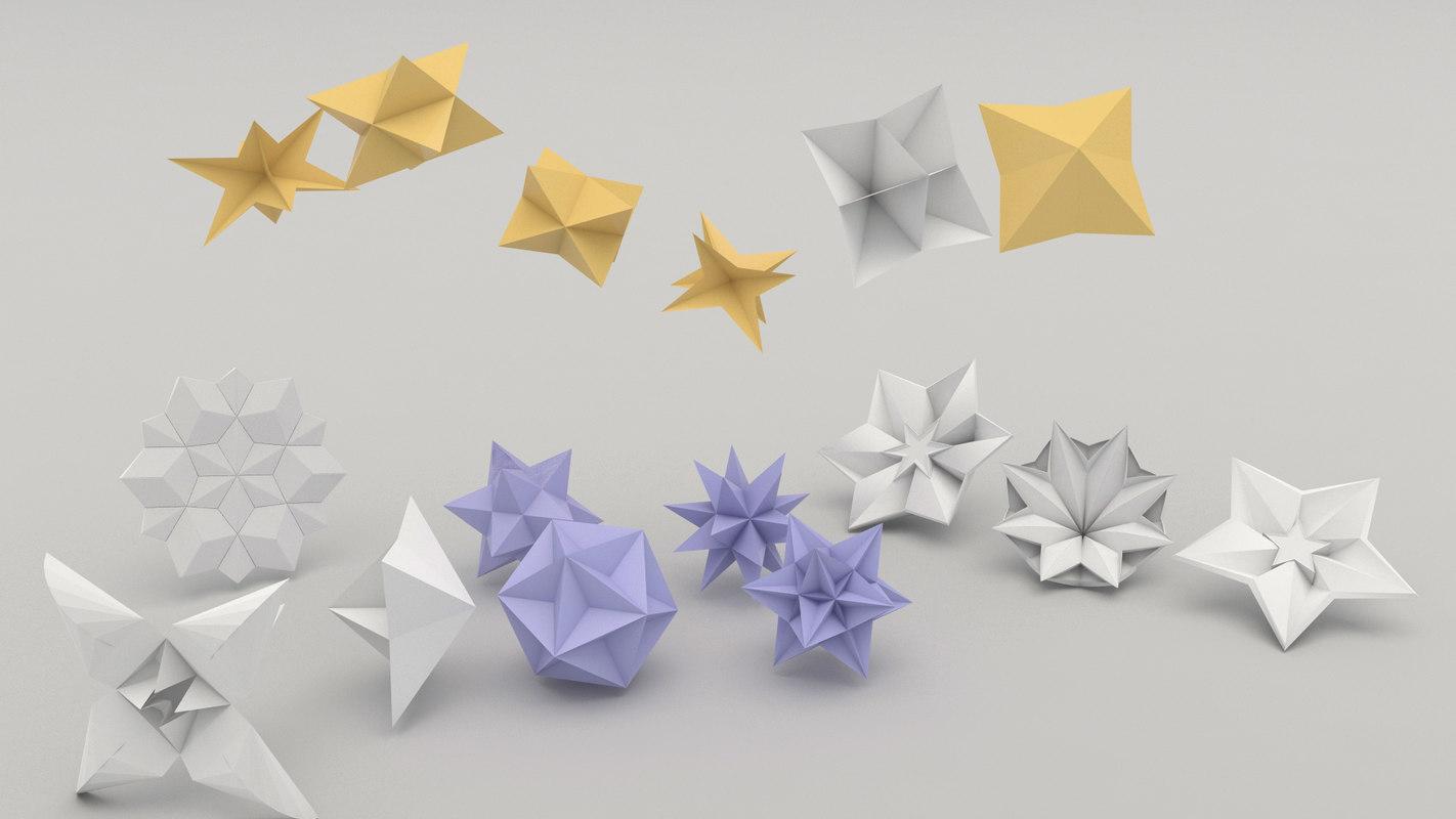 3d model of origami flower