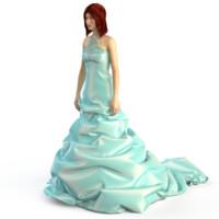 3d model of evening wedding dress