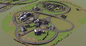 3d model of racetrack speedway trees