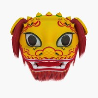 Chinese Lion Dance Head Mask