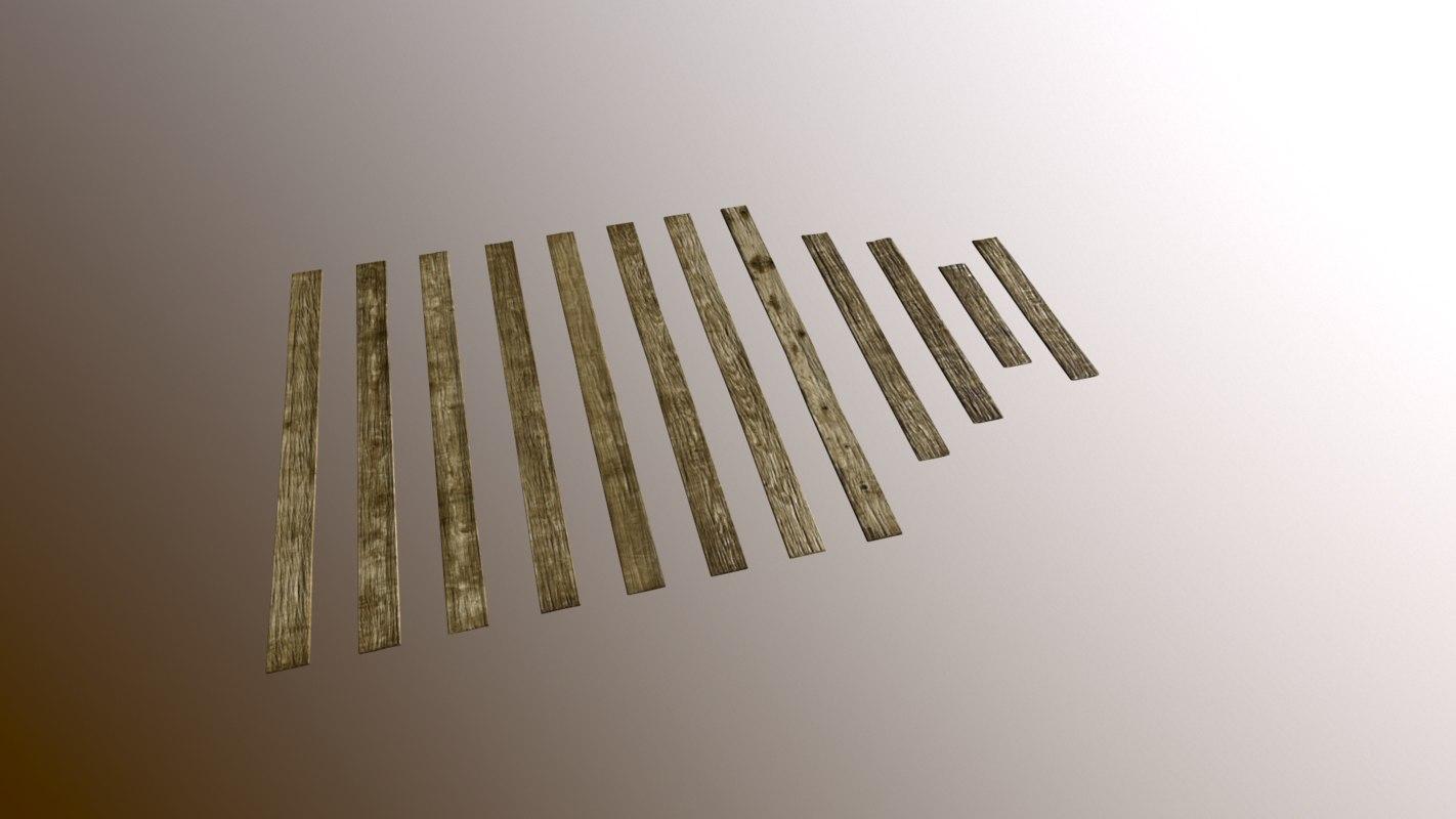 3d model of set wooden planks floor