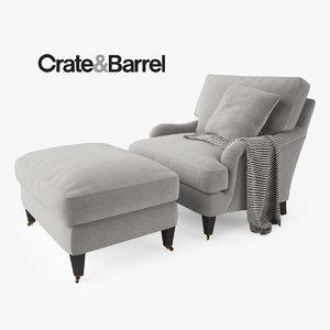 3d crate barrel essex chair ottoman